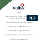 Automatizacion de La Produccion y Competitividad en El Mercado