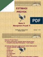Materi 9 Manajemen Proyek Ti Estimasi Proyek