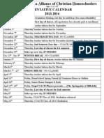Tentative Calendar 2013-2014