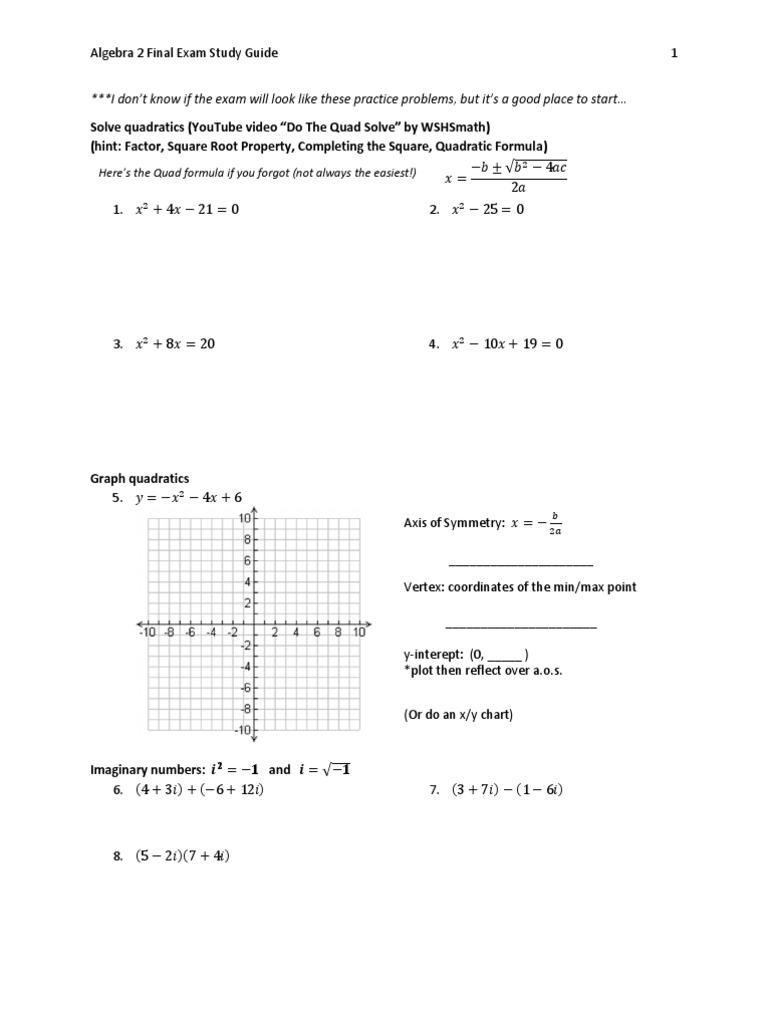 Algebra 2 Final Exam Study Guide | Algebra | Zero Of A ...