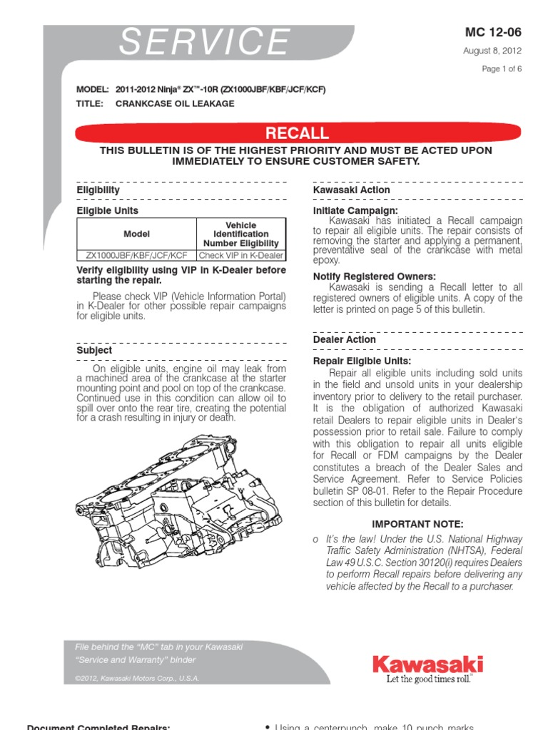 2011 - 2012 Kawasaki ZX10R Recall | Lease | Vehicles