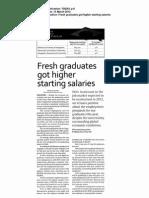 fresh graduates got higher starting salaries