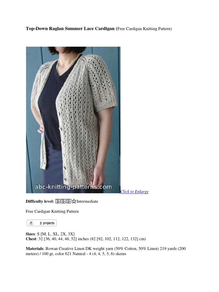 Top Down Raglan Summer Cardigan-free Pattern | Knitting | Crafts