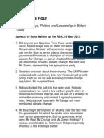 John Ashton's Lift the Lid Speech, May 16, 2013