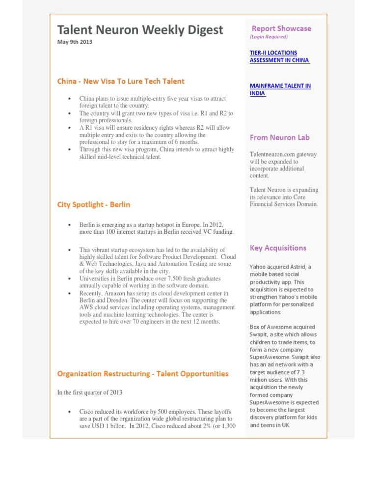 Talent Neuron Newsletter | Layoff | Cloud Computing