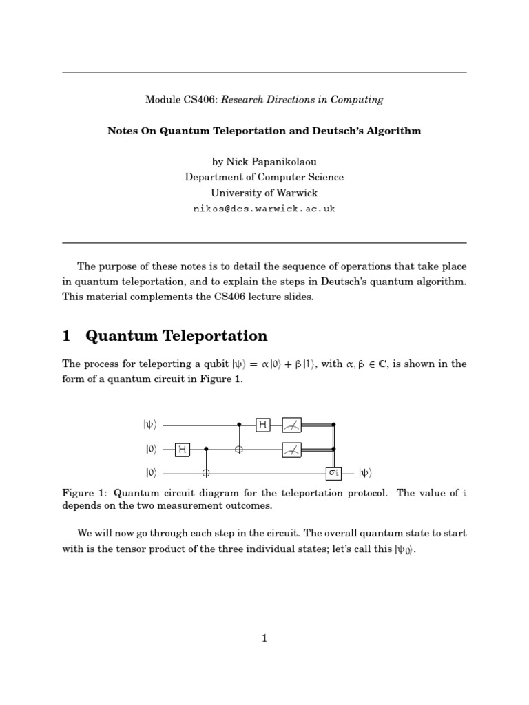 Quantum teleportation and deutschs algorithm particle physics quantum teleportation and deutschs algorithm particle physics applied mathematics ccuart Images