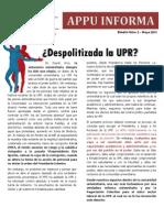 APPU Arecibo  Bole Núm. 2 - Mayo 2013 ¿UPR DESPOLITIZADA?