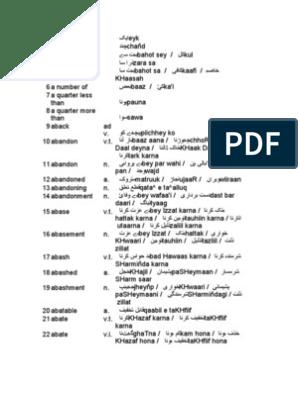 English To Urdu And Roman Urdu Dictionary Microsoft Excel Writing