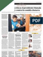 A Pesar de Las Criticas El Presidente Humala Promulga La Ley Contra La Comida Chatarra