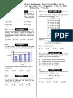 1ª prova diagnóstica (Mat. 7º ano) - 2013