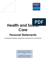 Health and Social Care Personal Statements