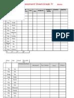 Assesment Sheet Grade7r
