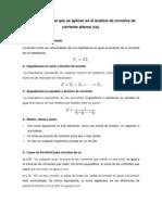 Leyes y Teoremas Para El Analisis de Circuitos de CA