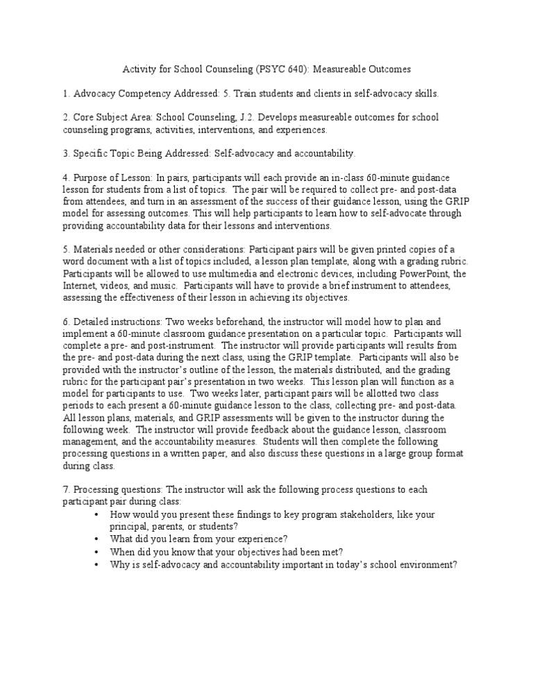 Sample Lesson Plan School Counselor Lesson Plan