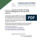 Cdo. N° 054-013 Jornadas educativas para docentes