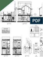Plano Cortes de Casa Unifamiliar 2 Pisos 6.00m x 9.00m (97.71 m2)