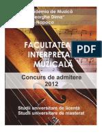 Facultatea de Interpretare - Brosura Admitere 2012-2013