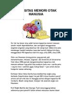 Kapasitas Memori Otak Manusia