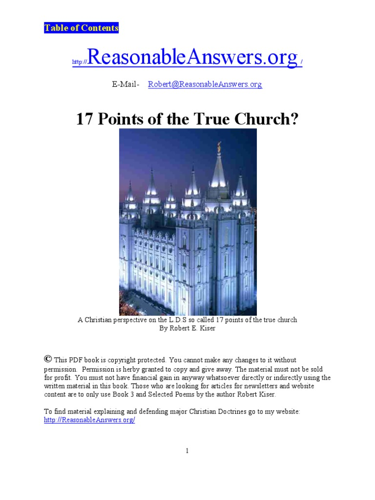 17 Points Of The True Church Good Works Sola Fide