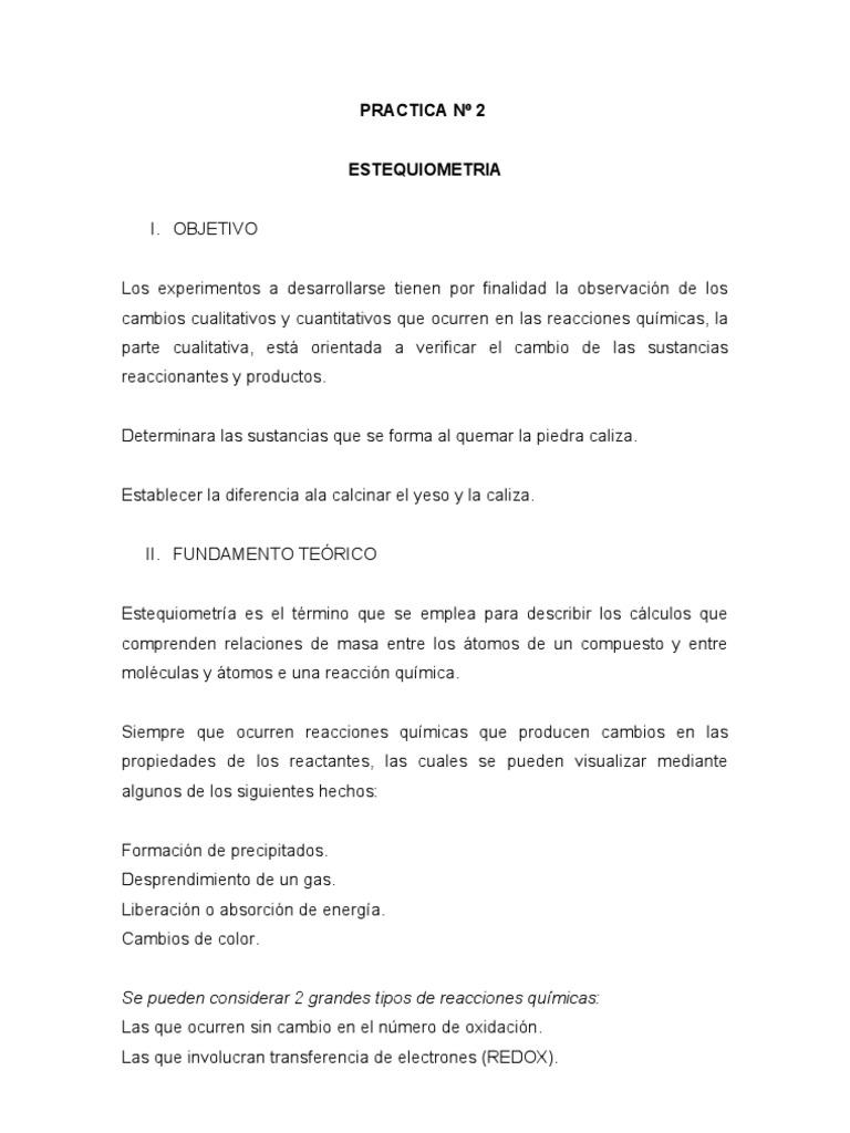 2do LABORATORIO - ESTEQUIOMETRIA