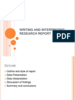 Writing and Interpreting Research Report