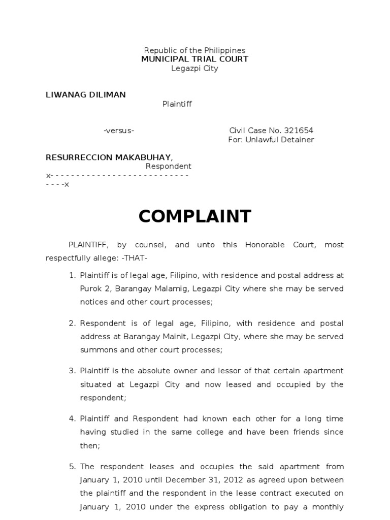 Sample complaint for ejectmentc lease lawsuit spiritdancerdesigns Image collections