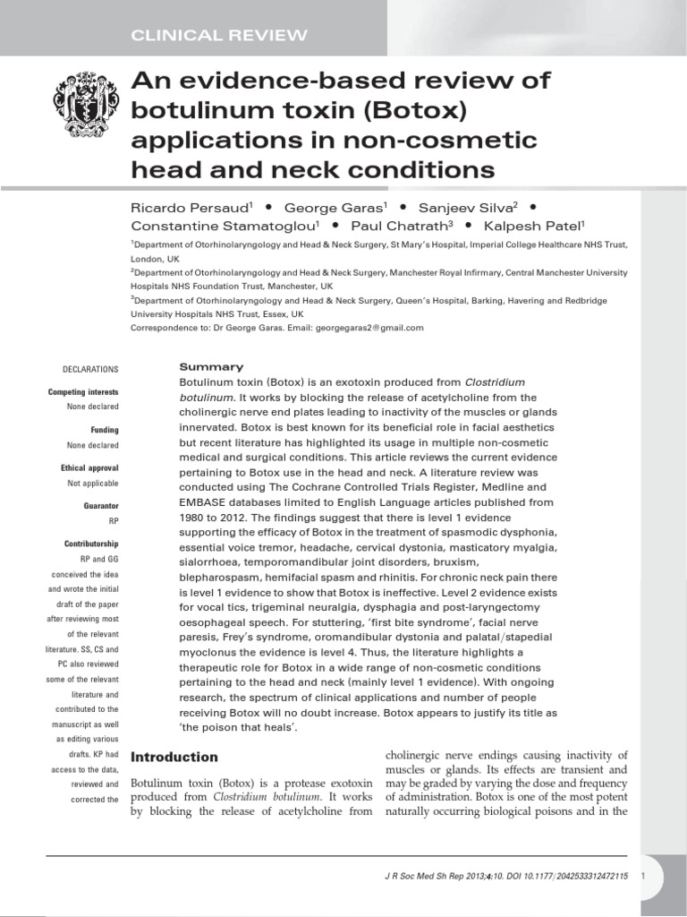 An evidence-based review of botulinum toxin (Botox
