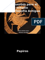 Historia de la Filosofía Antigua- Las fuentes para el estudio de la Filosofía antigua