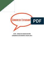 Acta Mesas de Negociacion - Congreso Estudantil Feuah 2013