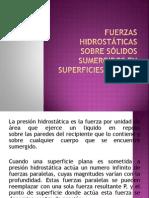 FUERZAS HIDROSTÁTICAS SOBRE SÓLIDOS SUMERGIDOS EN SUPERFICIES PLANAS