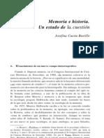 Josefina Cuesta Bustillo.memoria e Historia. Un Estado de La Cuestion