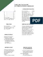 7) Tabla de cálculo de prestaciones laborales