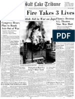 Salt Lake Tribune front page after Victory theater fire