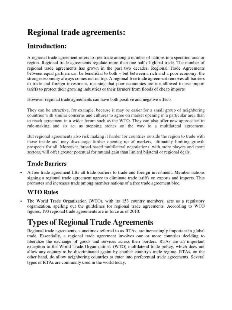 Regional Trade Agreements Trade Agreements Trade