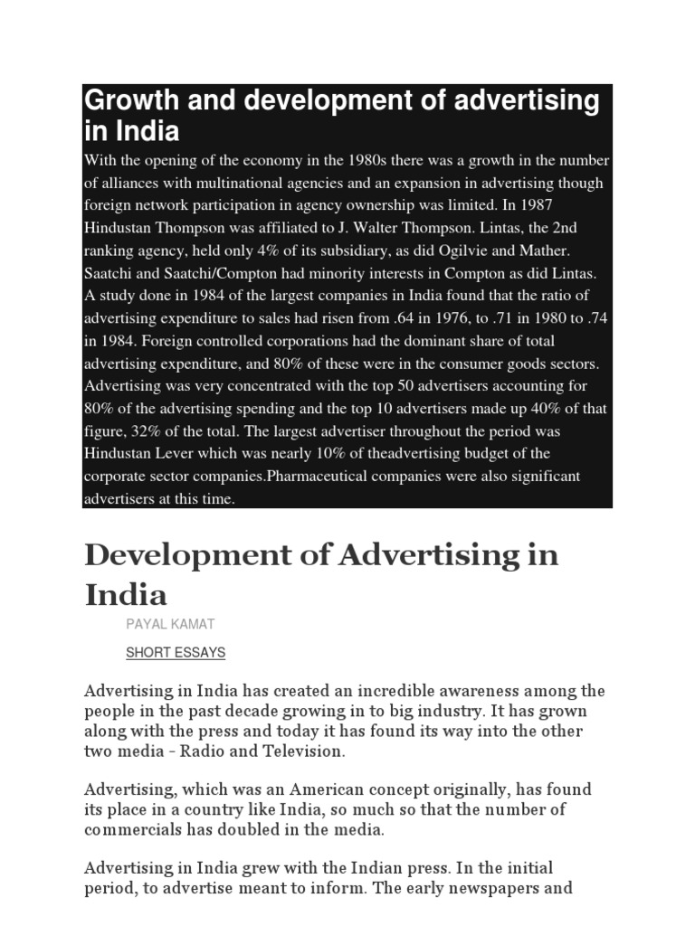 growth and development of advertising in
