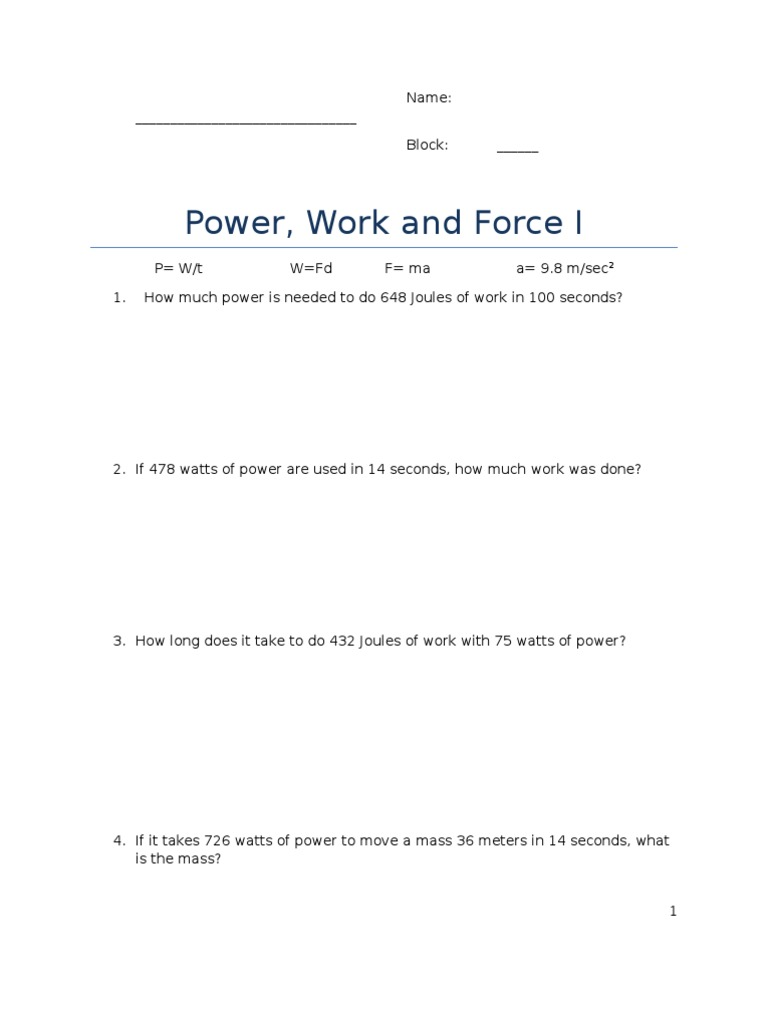 Work And Power Worksheet 1 Diilz – Power Worksheet