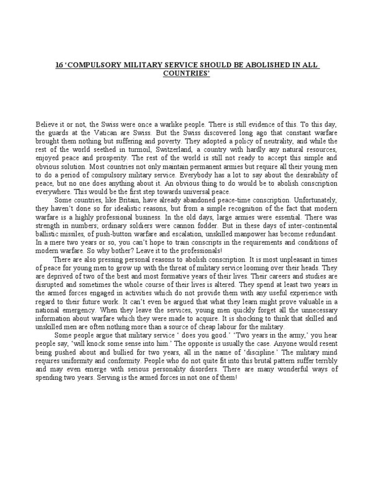 Essay On Compulsory Military Training - Class Notes