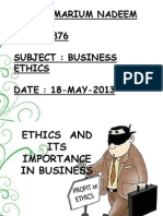 Ethics and its importance in business