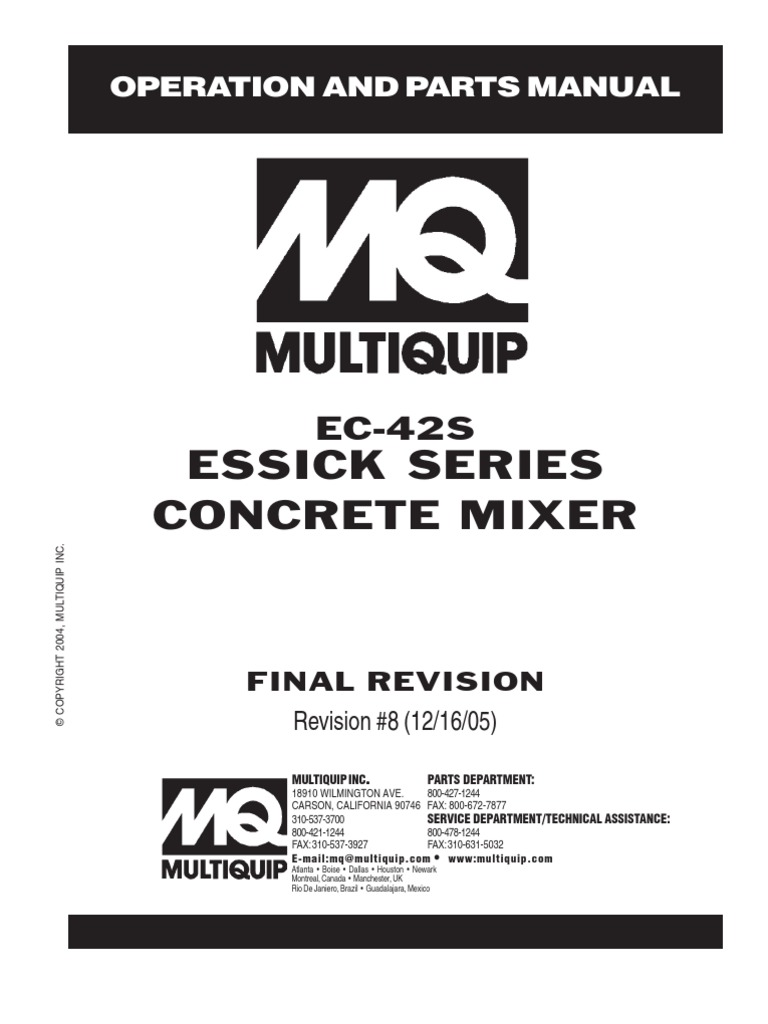 Mixers Towable Concrete Essick EC42S Rev 8 Manual DataId
