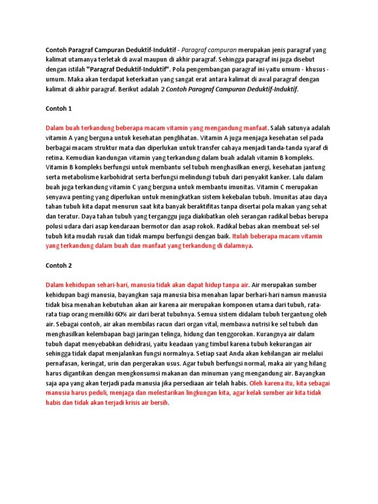 Contoh Paragraf Campuran Deduktif