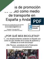 Políticas de promoción de la bicicleta como medio de transporte en España y Andalucía