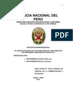 El Servicio Policial en Las Zonas Rurales, Urbanas y Influencia en Los Problemas Familiares en Tacna 2012