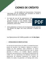 OPERACIONES DE CRÉDITO