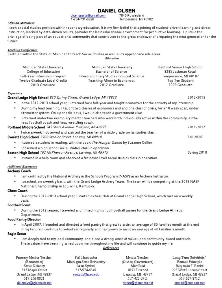 official resume | Internship | Teachers