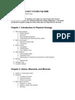 GEOL1113 1st Exam Study