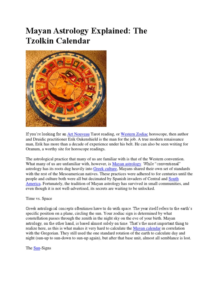 Mayan Astrology Explained Astrology Astrological Sign