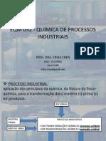 EQM 052 - QUÍMICA DE PROCESSOS INDUSTRIAIS 1