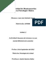 Psicología de la Salud - Resumen de la lectura, La cura mental.pdf