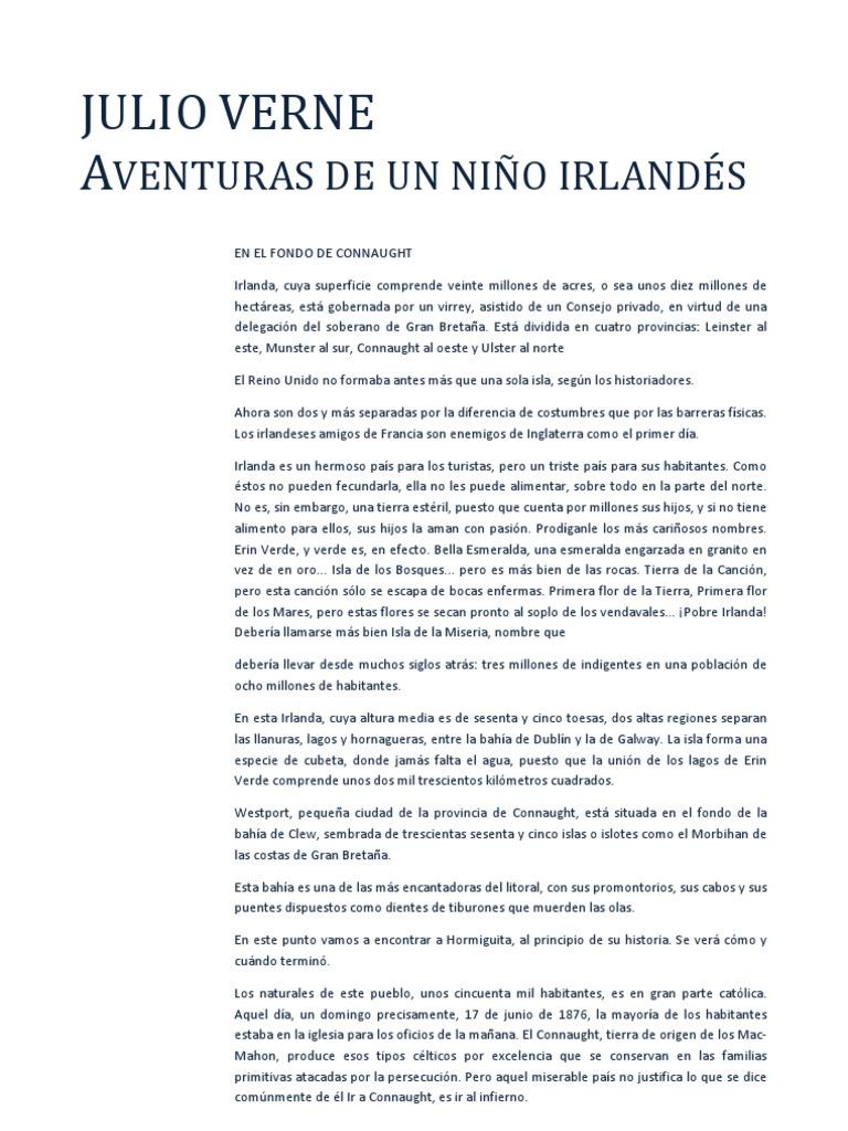 Julio Verne - Aventuras de un niño irlandes