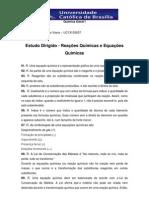 Estudo Dirigido - Reações Químicas e Equações Química